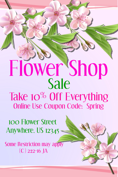 Flower Shop Sale Event Flyer template | PosterMyWall