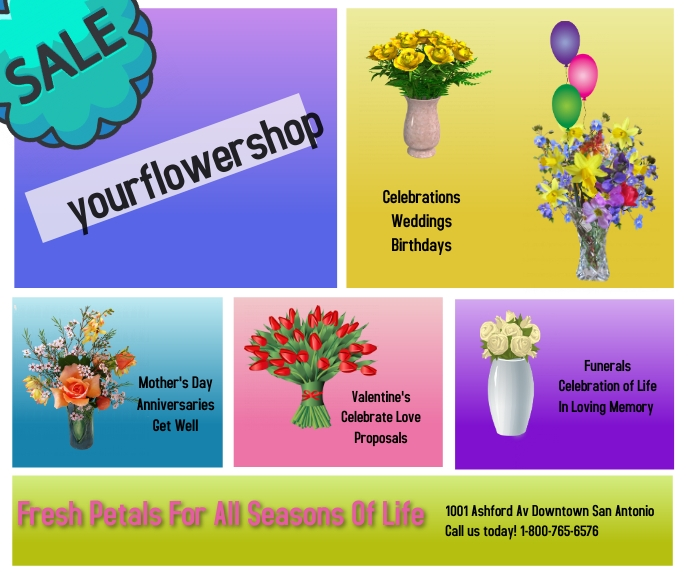 flower shop/spring ad/colors/store ad/beauty Großes Rechteck template