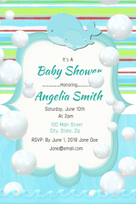 Cute Whale Twin Baby Shower