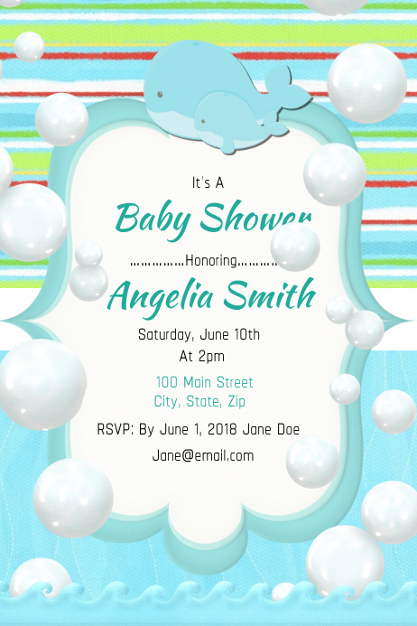 Cute whale twin baby shower template postermywall cute whale twin baby shower customize template maxwellsz