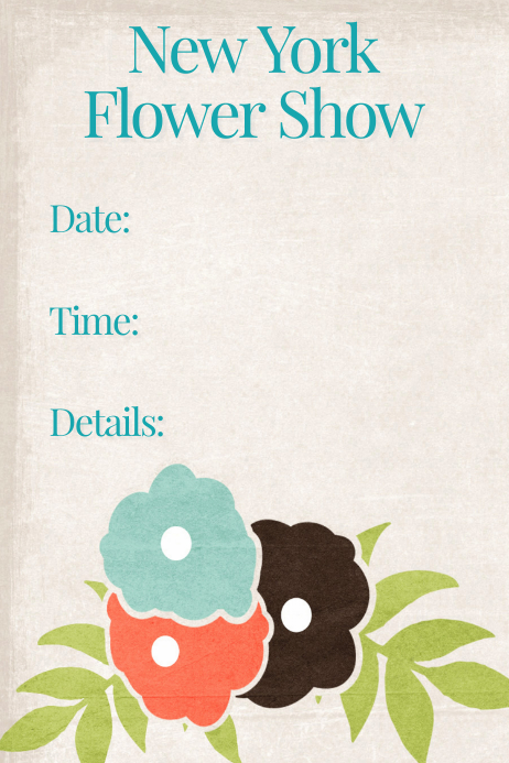 Flower Show Flyer Poster Floral Bridal Shower Invitation Plakat template