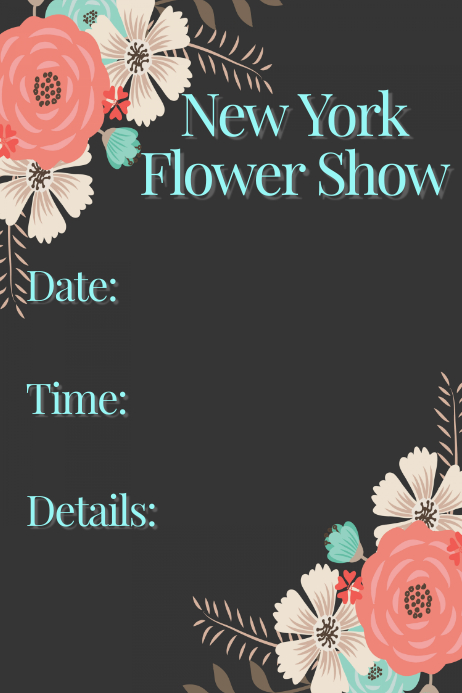 Flower Show Floral Event Flyer Invitation Announcement Lunch Plakat template