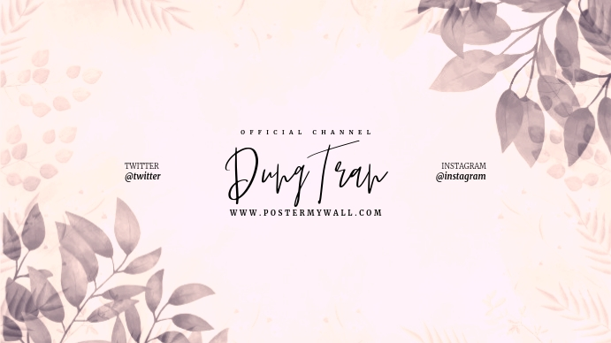 Flower Watercolor Leaves Youtube Channel Art template