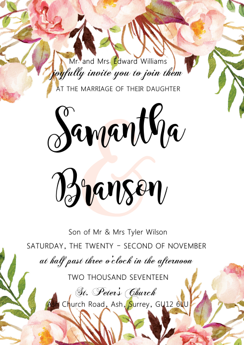 Flower wedding invitation A6 template