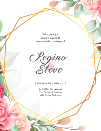 Flower Wedding Invitation Template Flyer (US Letter)