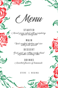 Flower Wedding menu Template