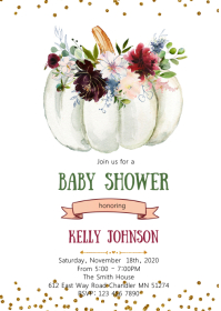 Flower white pumpkin party invitation