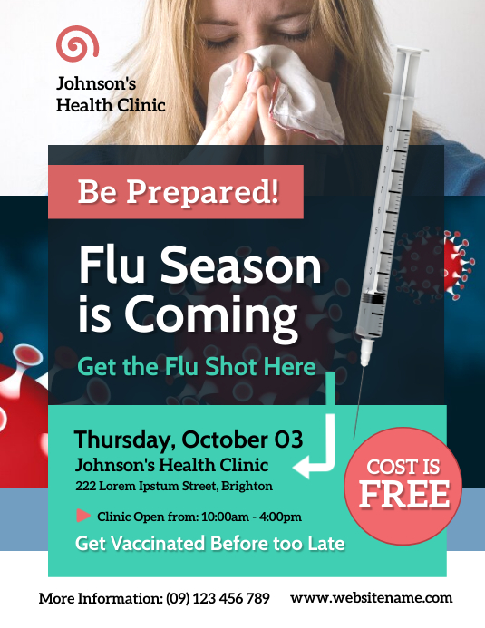 Flu Shot Campaign Flyer Pamflet (Letter AS) template