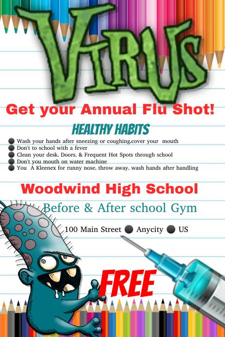 Flu Vaccine Flyers Free: Flu Shot Template