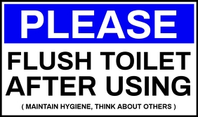 Flush Toilet After Use Sign Board Template Tag