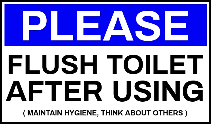 Flush Toilet After Use Sign Board Template Tanda