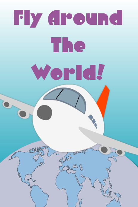 Fly around the world travel poster