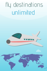 Fly destinations unlimited travel poster