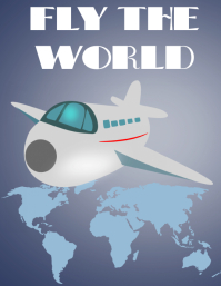Fly the world travel poster