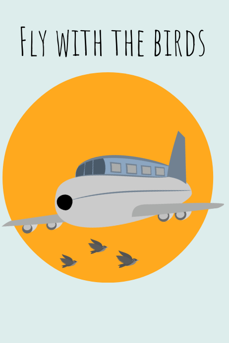 Fly with the birds travel poster