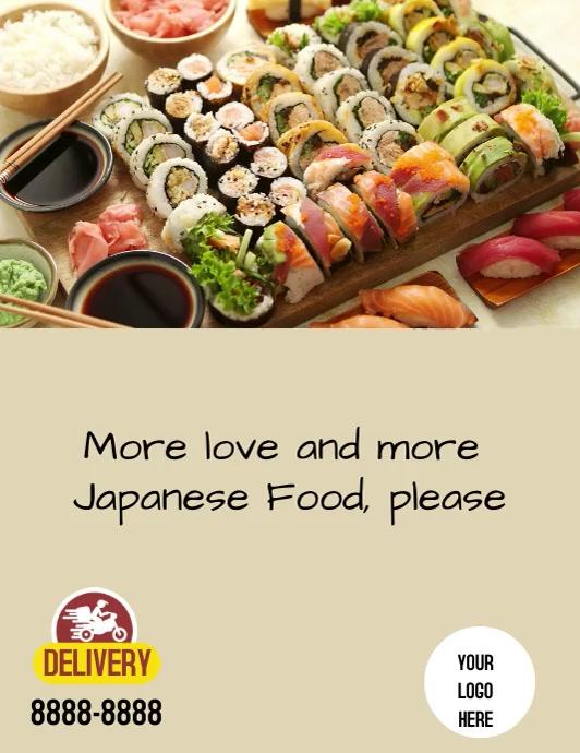 Flyer Japanese Food Løbeseddel (US Letter) template