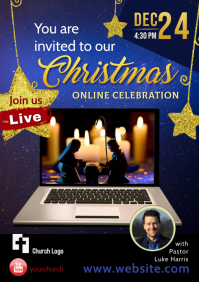 Flyer / Poster for Christmas Celebration blue A4 template