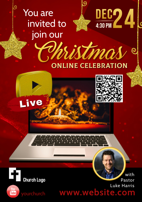 Flyer / Poster for Christmas Celebration red A4 template