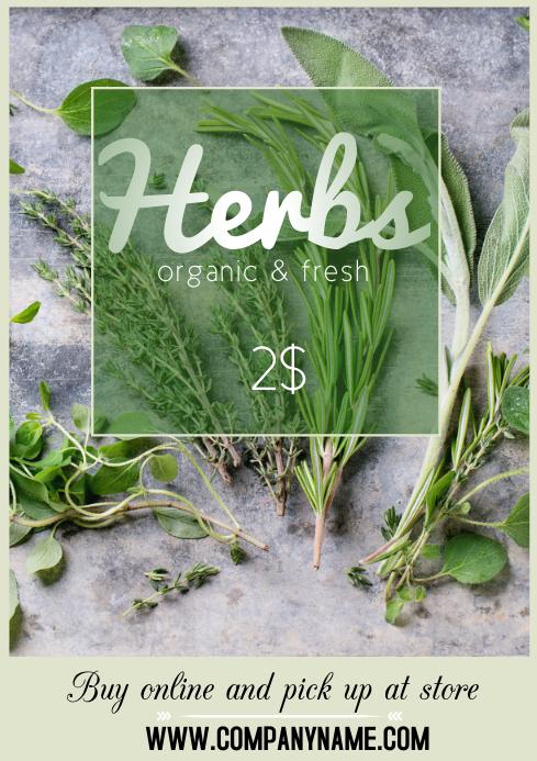 flyer poster template herbs organic fresh A4