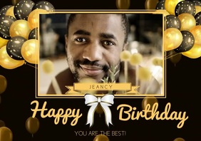 flyer poster video happy birthday A4 template