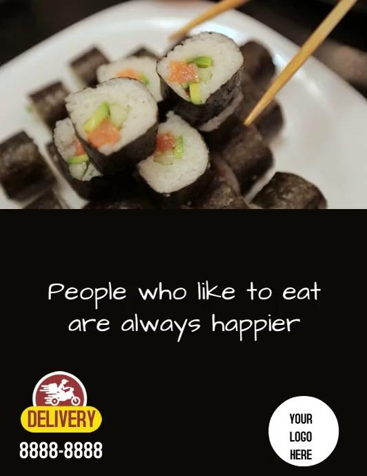 Flyer Sushi Løbeseddel (US Letter) template