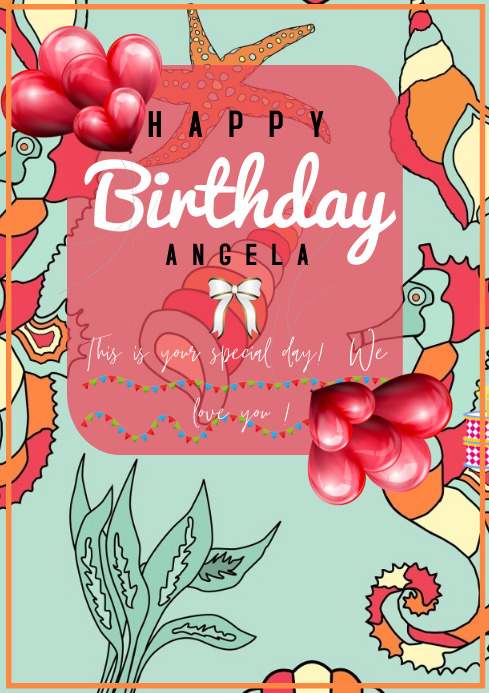 flyer template happy birthday A4