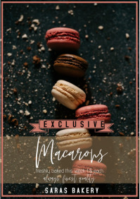 flyer template poster bakery macarons