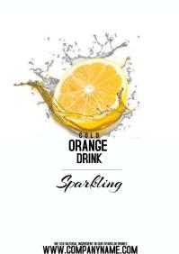 flyer template poster orange drink A4