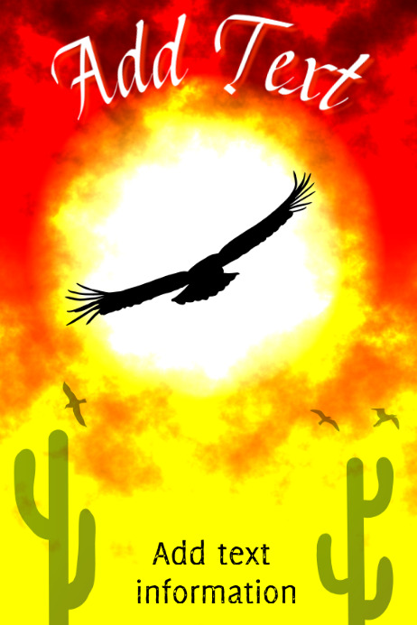 flying condor in the desert with saguaro cactus