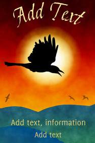 flying crow sun birds and hills and sunset - poster template