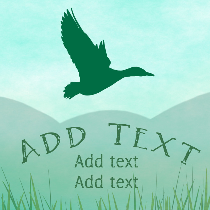 flying green wild duck mallard instagram customizable template
