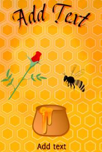 flying honey bee and honey jar