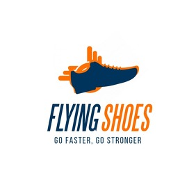 Flying shoes brand logo template