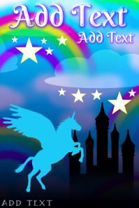 flying unicorn pegasus horse fairytale castle with stars - rainbows & magical kindom