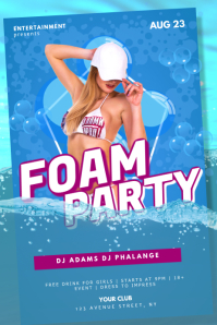 Foam Bubble Pool Party Flyer Template