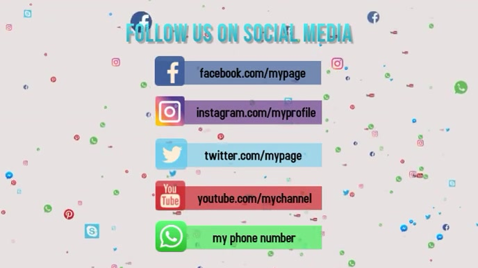 follow on social media Digitalt display (16:9) template