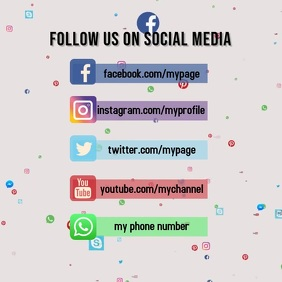 follow on social media โพสต์บน Instagram template