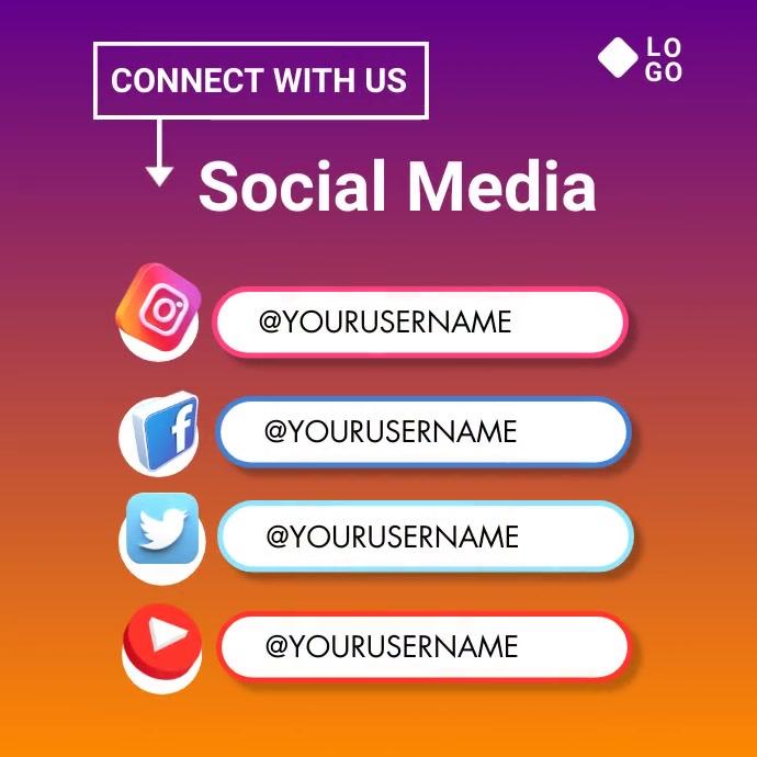 follow us Сообщение Instagram template