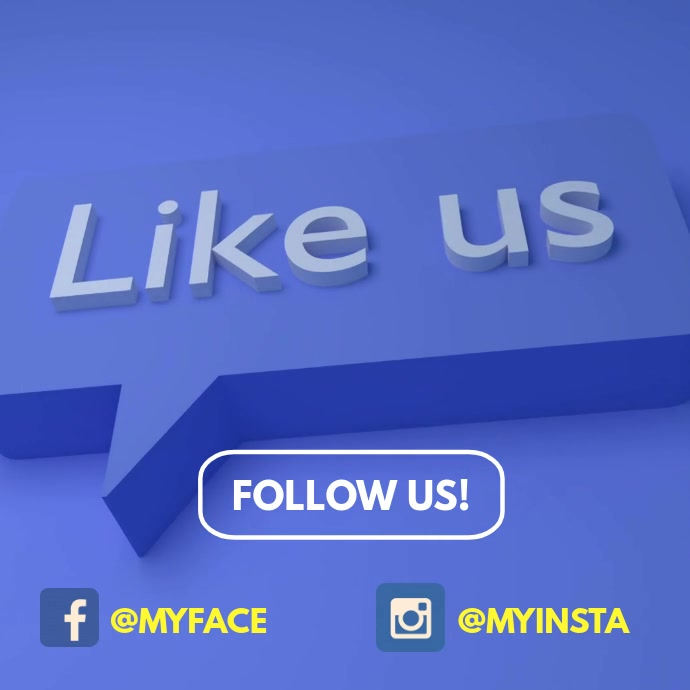 Follow Us Like Us on instagram facebook video Square (1:1) template