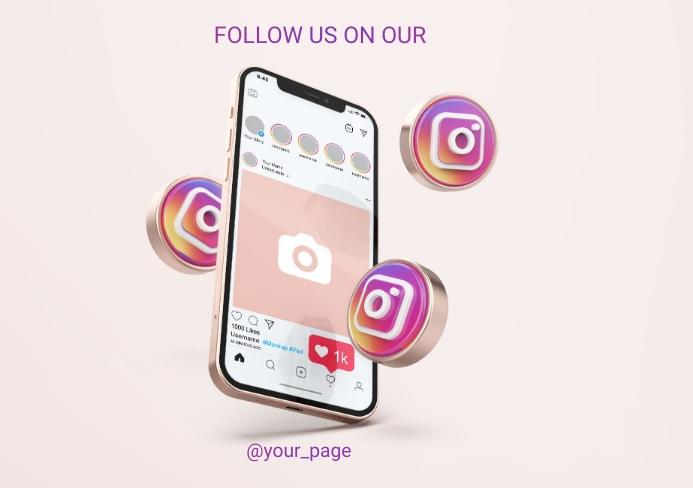 FOLLOW US ON SOCIAL MEDIA A5 template