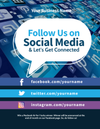 Follow Us on Social Media Flyer Pamflet (Letter AS) template