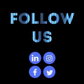Follow us text mask social media