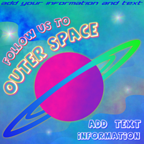 follow us to outer space - instagram post template with planet saturn