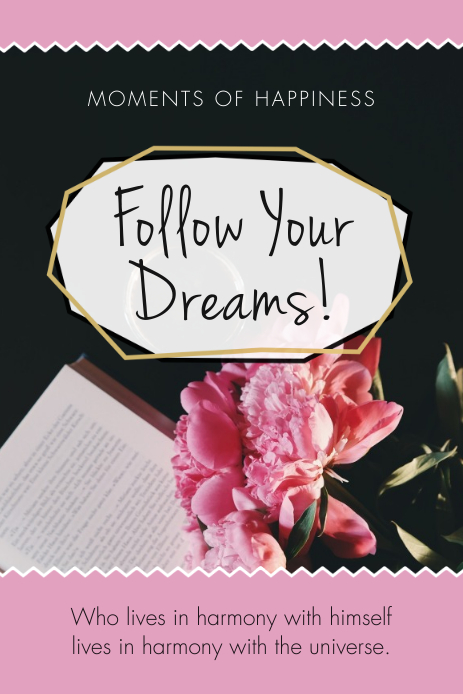 Follow your Dreams Pinterest Graphic template