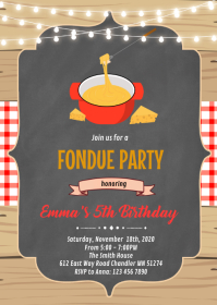 Fondue party invitation A6 template
