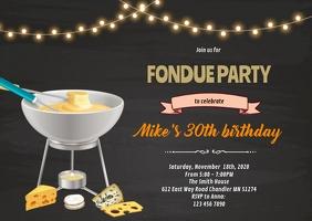 Fondue party invitation A6 template