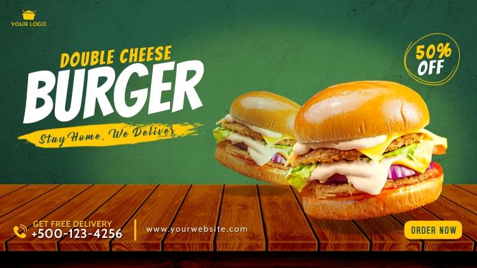 Food burger twitter post template