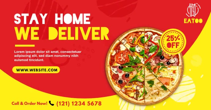 Food Delivery | Pizza Delivery Ad Facebook Shared Image template