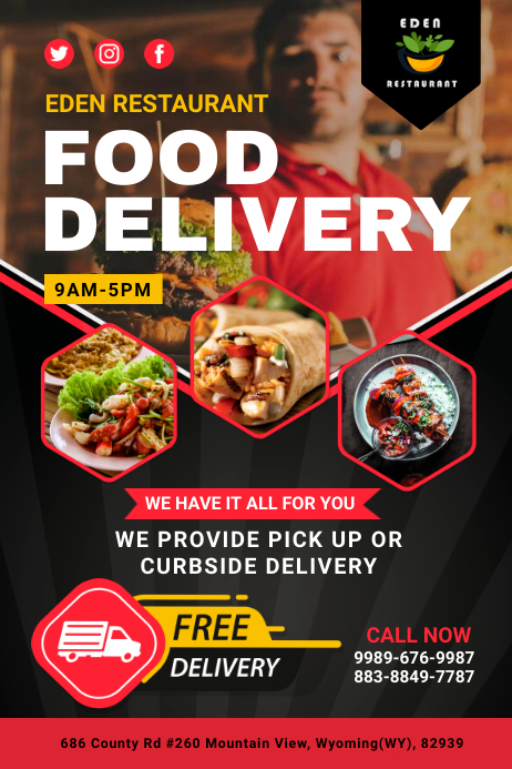 Food Delivery Free Delivery Service Poster