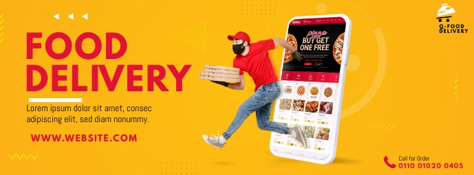 Food Delivery Service Ad Facebook Cover Photo template